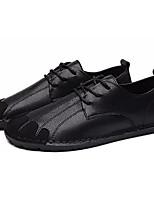 baratos -Homens sapatos Pele Napa Primavera Verão Conforto Oxfords para Ao ar livre Branco Preto Cinzento