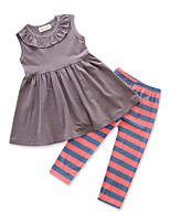 cheap -Girls' Daily Going out Solid Colored Striped Clothing Set, Cotton Polyester Summer Sleeveless Cute Active Dark Gray