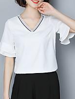 preiswerte -Damen Solide - Grundlegend Bluse Bestickt