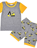 cheap -Toddler Unisex Color Block Short Sleeve Clothing Set