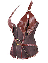 cheap -Cosplay Steampunk Costume Women's Corset Black Gray Brown Vintage Cosplay Polyster Sleeveless