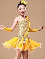 cheap -Belly Dance Latin Dance Dresses Girls' Training Performance Polyester Paillette Split Joint Sleeveless Natural Hair Jewelry Dress Gloves