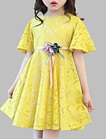cheap -Girl's Daily Floral Dress, Polyester Spring Summer Short Sleeves Cute Blushing Pink Yellow