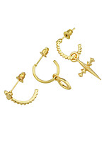 cheap -Women's Cross 3pcs Drop Earrings - Casual / Fashion Gold Circle Earrings For Gift / Date