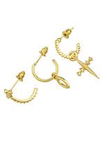 abordables -Femme Croix 3pcs Boucles d'oreille goutte - Décontracté / Mode Or Forme de Cercle Des boucles d'oreilles Pour Cadeau / Rendez-vous