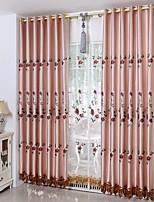 baratos -Sheer Curtains Shades Sala de Estar Floral Algodão / Poliéster Bordado