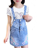 cheap -Girl's Daily Holiday Print Dress, Cotton Polyester Spring Summer Sleeveless Cute Active Blue