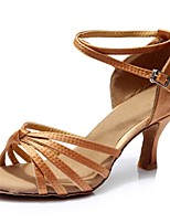 cheap -Women's Latin Shoes Satin Sandal / Heel Splicing Customized Heel Customizable Dance Shoes Brown / Indoor