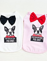 cheap -Dogs Cats Furry Small Pets Pets Shirt / T-Shirt Dog Clothes Letter & Number Bowknot Animal White Pink Cotton / Polyester Costume For Pets