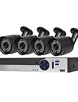 abordables -Système de sécurité 4 ch avec 4ch 1080n ahd dvr 4 * 1.3mp caméras résistant aux intempéries avec vision nocturne