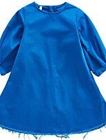 cheap -Girl's Daily Solid Colored Dress, Polyester Spring 3/4 Length Sleeves Basic Blue