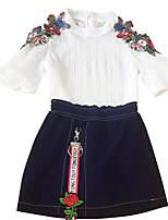cheap -Girls' Basic Geometric Print 3/4 Length Sleeves Clothing Set