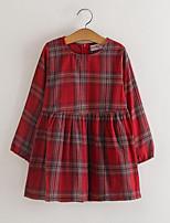 abordables -Robe Fille de Quotidien Tartan Rayonne Printemps Automne Manches Longues Rétro Rouge Jaune