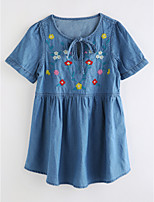 cheap -Girl's Daily Jacquard Dress Summer Cute Basic Blue