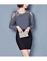 abordables -Mujer Básico Encaje Blusa Un Color
