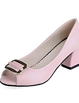 cheap -Women's Shoes PU(Polyurethane) Spring / Fall Comfort / Basic Pump Heels Chunky Heel Peep Toe Black / Beige / Pink