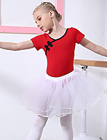 cheap -Ballet Outfits Girls' Training Performance Cotton Lace Short Sleeves Natural Skirts Leotard / Onesie