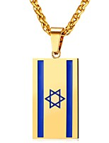 cheap -Men's Women's Flag Stainless Steel Pendant Necklace  -  Fashion Gold Silver 55cm Necklace For Daily