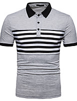 cheap -Men's Business Street chic Polo - Striped Patchwork