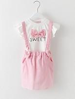 cheap -Girls' Daily Striped Print Clothing Set, Cotton Rayon Summer Short Sleeves Cute Blue Blushing Pink