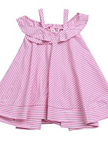 cheap -Girl's Daily Holiday Striped Dress, Cotton Polyester Summer Short Sleeves Cute Active Blue Black Fuchsia
