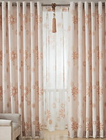 cheap -Curtains Drapes Living Room Floral Contemporary Cotton / Polyester Printed