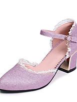 abordables -Mujer Zapatos Semicuero Primavera / Verano Confort Tacones Tacón Cuadrado Dedo Puntiagudo Dorado / Plata / Rosa