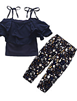 cheap -Girls' Going out Holiday Solid Colored Floral Clothing Set, Cotton Acrylic Spring Summer Short Sleeves Vintage Cute Navy Blue