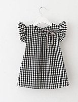 cheap -Girl's Daily Check Dress, Polyester Summer Short Sleeves Cute Black