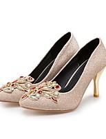abordables -Mujer Zapatos Semicuero Primavera / Otoño Confort Tacones Tacón Stiletto Dedo Puntiagudo Cristal Dorado / Morado / Rojo / Fiesta y Noche