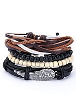 cheap -Men's Leather 4pcs Wrap Bracelet - Vintage Casual Irregular Black Bracelet For Daily Prom