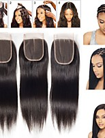 Недорогие -Guanyuwigs Жен. Прямой 4x4 Закрытие Бразильские волосы Швейцарское кружево Натуральные волосы Бесплатный Часть Средняя часть 3 Часть С