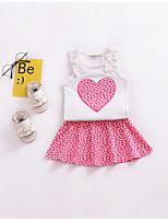 cheap -Girls' Print Clothing Set, Cotton Summer Sleeveless Blushing Pink