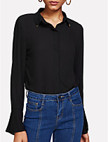 cheap -Women's Street chic Slim Blouse - Solid Colored Shirt Collar