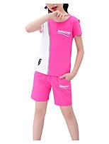 Недорогие -Дети Девочки Классический Геометрический принт С короткими рукавами Набор одежды