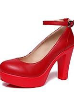 Недорогие -Жен. Обувь Микроволокно Весна / Осень Туфли лодочки Обувь на каблуках На толстом каблуке Круглый носок Пряжки Серебряный / Красный