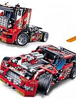 Недорогие -Race Truck Car 2 In 1 Transformable Model Конструкторы 608pcs утонченный Транспорт Игрушки Грузовик Гоночная машинка Мальчики Игрушки