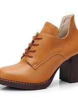 baratos -Mulheres Sapatos Micofibra Sintética PU Outono Inverno Curta / Ankle Botas Salto Robusto Botas Curtas / Ankle para Preto Marron Amêndoa