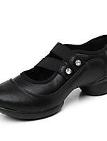 cheap -Women's Dance Sneakers Calf Hair Sneaker Outdoor Practice Splicing Flat Heel Black Red Customizable