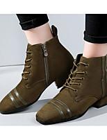 preiswerte -Damen Schuhe Mikrofaser Herbst Winter Springerstiefel Komfort Stiefel Blockabsatz Booties / Stiefeletten für Normal Schwarz Armeegrün