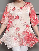 preiswerte -Damen Blumen - Grundlegend Bluse Druck