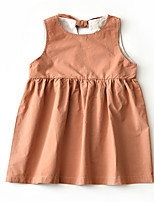cheap -Girl's Daily Holiday Solid Colored Dress, Cotton Polyester Summer Sleeveless Active Blue Brown