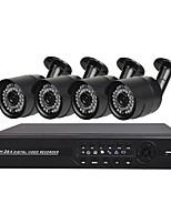 Недорогие -Комплект 4 ch ahd dvr с 1080n dvr и 4 x 720p водонепроницаемыми камерами предлагает супер наблюдение локально и дистанционно с удаленным просмотром