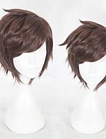 abordables -Perruque Synthétique Droit Coupe Dégradée Cheveux Synthétiques Ligne de Cheveux Naturelle Marron Perruque Homme Court Perruque de Cosplay