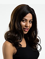 cheap -Synthetic Wig Wavy Middle Part Natural Hairline Brown Women's Capless Natural Wigs Long Synthetic Hair Daily