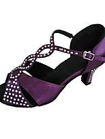 cheap -Women's Latin Salsa Satin Heel Indoor Beading Customized Heel Purple Customizable