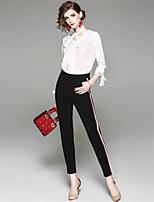 cheap -EWUS Women's Basic Chinos Pants - Color Block