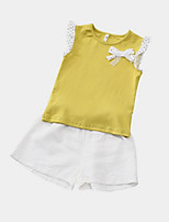 cheap -Girls' Daily Solid Colored Clothing Set, Polyester Summer Sleeveless Cute Street chic White Yellow