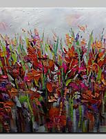 Недорогие -Hang-роспись маслом Ручная роспись - Абстракция Цветочные мотивы/ботанический Modern холст