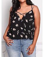 preiswerte -Damen Blumen - Grundlegend Übertrieben Bluse Rückenfrei